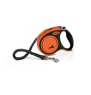FLEXI XTREME oranžinis pavadėlis S 5 m iki 20 kg - diržas