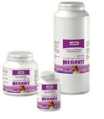 MIKITA MEGAVIT Kalcio fosfatas + vitaminas A+D3 - vitaminų ir mineralų papildas šunims 50tab.
