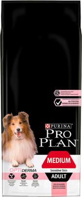 Purina Pro Plan Medium Adult Sensitive Skin Optiderma, lašiša ir ryžiai 14kg