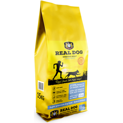 REAL DOG ADULT SENSITIVE ALL BREEDS WITH DUCK 15 kg