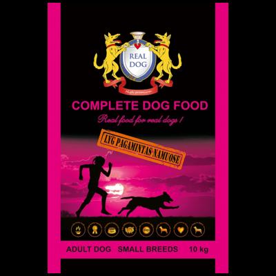 REAL DOG SMALL BREEDS VISAVERTIS ĖDALAS MAŽŲ VEISLIŲ ŠUNIMS. SU PAUŠTIENA. 10KG