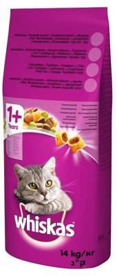 WHISKAS Adult 14kg - sausas kačių maistas su tunu ir daržovėmis + 2x DREAMIES 15g