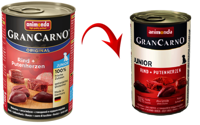ANIMONDA GranCarno Junior skonis: Jautiena + kalakuto širdys 400g